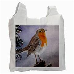 Robin On Log White Reusable Bag (two Sides)