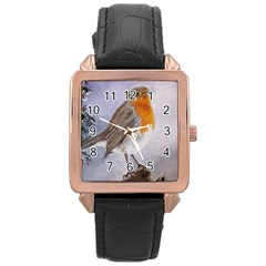 Robin On Log Rose Gold Leather Watch
