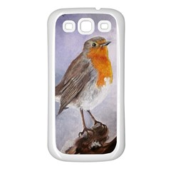 Robin On Log Samsung Galaxy S3 Back Case (white)