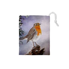 Robin On Log Drawstring Pouch (small)