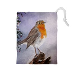 Robin On Log Drawstring Pouch (large)