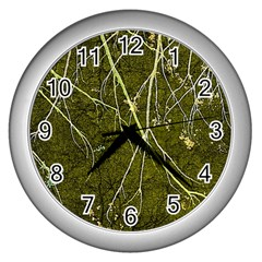 Wild Nature Collage Print Wall Clock (silver)