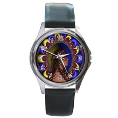 New Romantic Round Leather Watch (silver Rim)