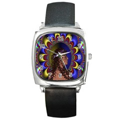 New Romantic Square Leather Watch