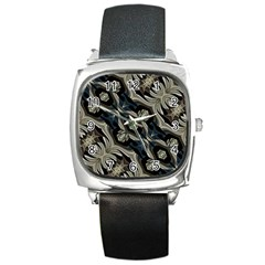 Fancy Ornament Print Square Leather Watch