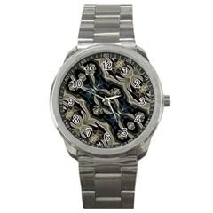 Fancy Ornament Print Sport Metal Watch