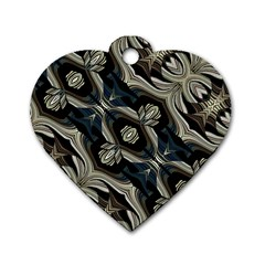 Fancy Ornament Print Dog Tag Heart (one Sided)