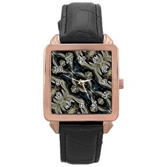Fancy Ornament Print Rose Gold Leather Watch