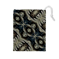 Fancy Ornament Print Drawstring Pouch (Large)