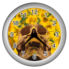 Sunflowers Wall Clock (Silver)