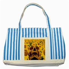 Sunflowers Blue Striped Tote Bag
