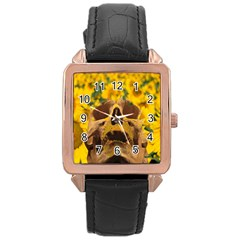 Sunflowers Rose Gold Leather Watch
