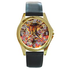 Abstract 4 Round Leather Watch (gold Rim)