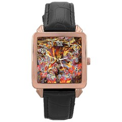 Abstract 4 Rose Gold Leather Watch