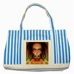 Cat Woman Blue Striped Tote Bag