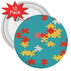 Puzzle Pieces 3  Button (10 pack)