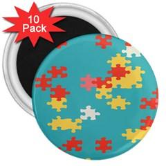 Puzzle Pieces 3  Button Magnet (10 Pack)