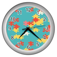 Puzzle Pieces Wall Clock (silver)