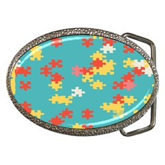 Puzzle Pieces Belt Buckle (Oval)