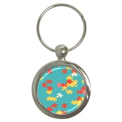 Puzzle Pieces Key Chain (round)