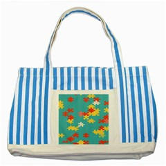 Puzzle Pieces Blue Striped Tote Bag
