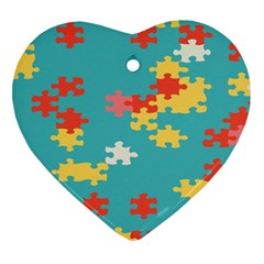 Puzzle Pieces Heart Ornament (Two Sides)