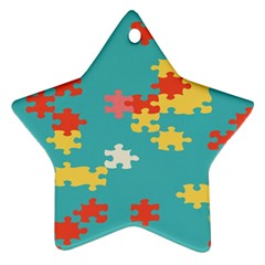 Puzzle Pieces Star Ornament (two Sides)