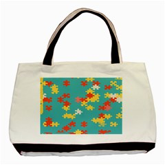 Puzzle Pieces Twin-sided Black Tote Bag