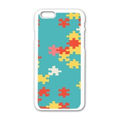 Puzzle Pieces Apple Iphone 6 White Enamel Case