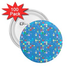 Colorful Squares Pattern 2 25  Button (100 Pack)