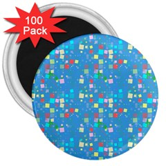 Colorful Squares Pattern 3  Magnet (100 Pack)