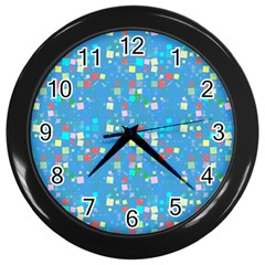Colorful Squares Pattern Wall Clock (black)