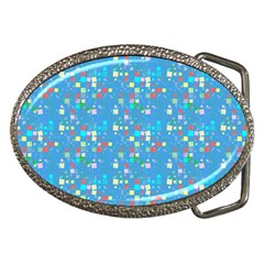 Colorful squares pattern Belt Buckle