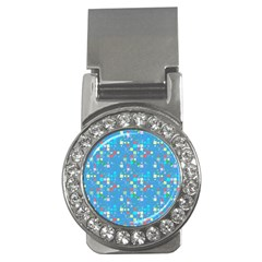 Colorful squares pattern Money Clip (CZ)
