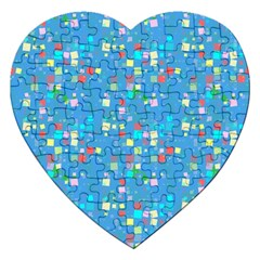 Colorful Squares Pattern Jigsaw Puzzle (heart)