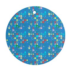 Colorful Squares Pattern Round Ornament (two Sides)