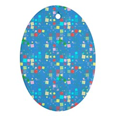 Colorful squares pattern Oval Ornament (Two Sides)