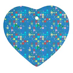 Colorful squares pattern Heart Ornament (Two Sides)