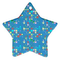 Colorful Squares Pattern Star Ornament (two Sides)