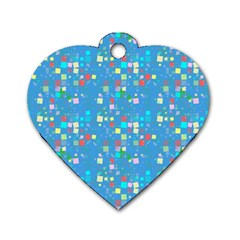 Colorful Squares Pattern Dog Tag Heart (one Side)