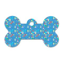 Colorful Squares Pattern Dog Tag Bone (two Sides)