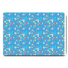 Colorful squares pattern Large Doormat