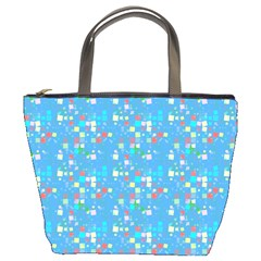 Colorful Squares Pattern Bucket Bag