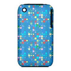 Colorful Squares Pattern Apple Iphone 3g/3gs Hardshell Case (pc+silicone)