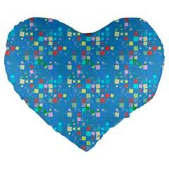 Colorful Squares Pattern 19  Premium Heart Shape Cushion