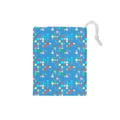 Colorful Squares Pattern Drawstring Pouch (small)