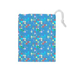 Colorful Squares Pattern Drawstring Pouch (medium)