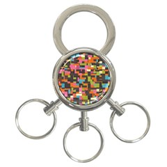 Colorful Pixels 3 Ring Key Chain