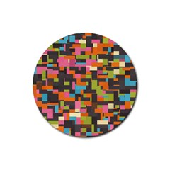 Colorful pixels Rubber Coaster (Round)