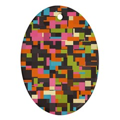 Colorful Pixels Oval Ornament (two Sides)